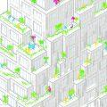 MVRDVがフランス・レンヌの集合住宅コンペに勝利。135ある住戸全てに屋外バルコニーを備える。外に向けたファサードは岩層からイメージされ3つの異なる素材から成る