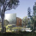 オーストラリア新シェパートン美術館コンペのファイナリスト5組の提案資料。計画地はメルボルンから北に約190kmのビクトリアパーク湖に隣接。国内から88の提案があった