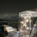 隈研吾がフランス・パリ国際会議場のコンペに勝利。ガラスカーテンウォールのファサードは木構造で支えられる。インテリアは温かみを出すため自然素材を採用