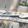 アメリカ・フロリダ州で建設途中の橋が崩落。あらかじめ組み立てられた橋をジャッキアップし接続する工法を採用していた。NTSB(アメリカ国家運輸安全委員会)が原因を調査中