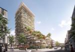 隈研吾がオーストラリア・シドニーの集合住宅のコンペに勝利。ファサードは木製のルーバーで暖かい印象を与える。各階の庇は植栽が可能で垂直の森を演出する