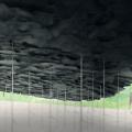 2019サーペンタイン・パヴィリオンの設計は石上純也。スレート屋根は重厚な存在感がありながら布地のように浮遊する。これまでにない広大な風景を作る試みとなる