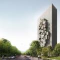 MVRDVによるアルバニア・ティラナの複合施設。片持で張り出した住居やオフィスはアルバニアの地図をピクセルで表現したもの。アルバニアで最も高層の建物となる