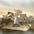 フランク・ゲーリーによるグッゲンハイム・アブダビ。 プロジェクト発表から10年以上の時を経て建設を開始。石膏のブロックや自己冷却する半透明の外壁で構成される